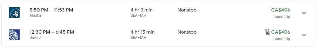 SEA to IAH flight price