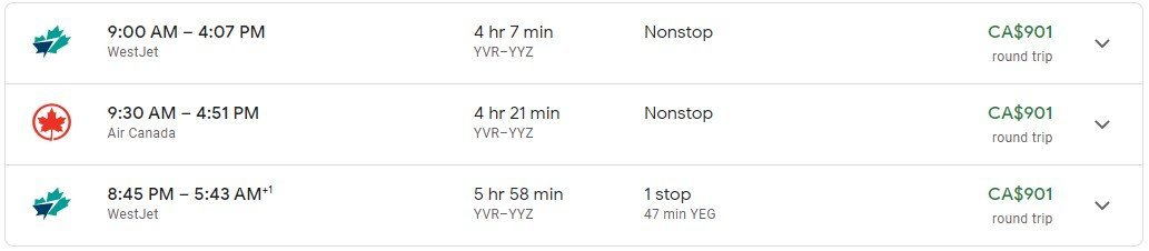 YVR to YYZ flight price