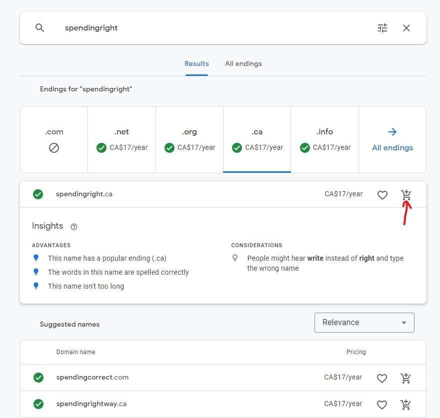 Select domain to buy Google Domains
